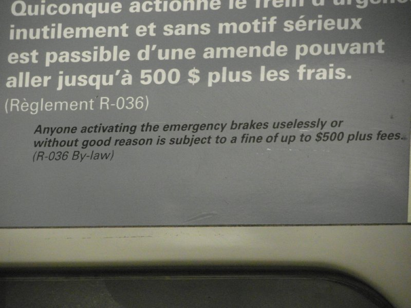 Sign on Montreal metro