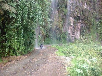 Riding through the waterfalls