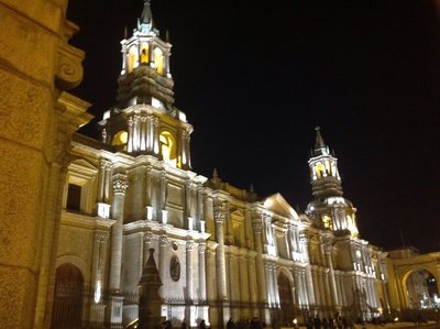 Arequipa cathedral at night