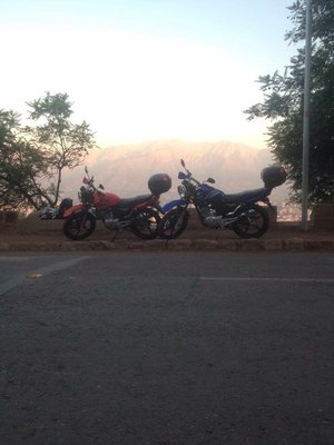 Our bikes in font of the Andes