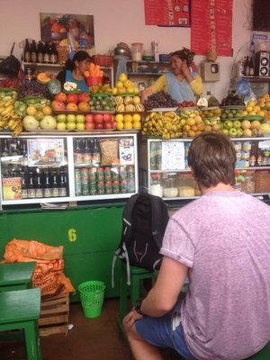 Fruit juice stall at Sucre market