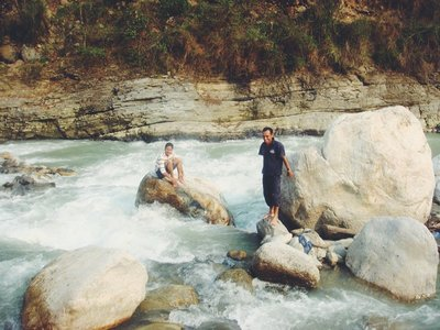 Relaxing in the Modi Khola River