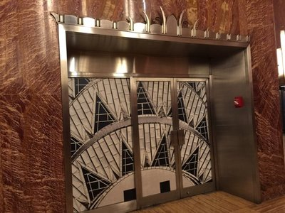 Metal doors mimicking radiator details in Chrysler Building