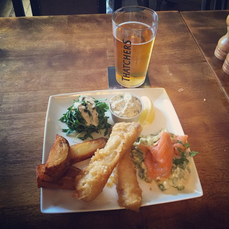 Pub fish and chips with asparagus risotto and Scottish smoked salmon