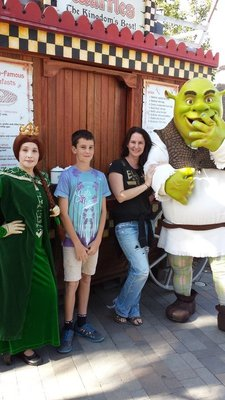 Weston & I with Shrek & Princess Fiona