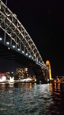 Harbour Bridge by night from Manly