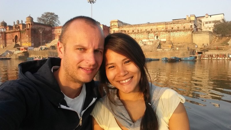 Varanasi - Us on the tail boat