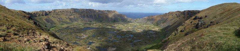 Volcan Rano Kau et village d'Orongo