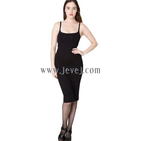 Jevej American Apparel Women's Ponte Tank Dress, Black, Medium
