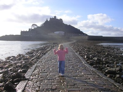 walking the causeway to St Michaels Mount at low tide