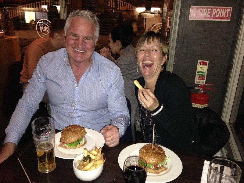 A burger (with a Kiwi theme) for dinner in Dublin