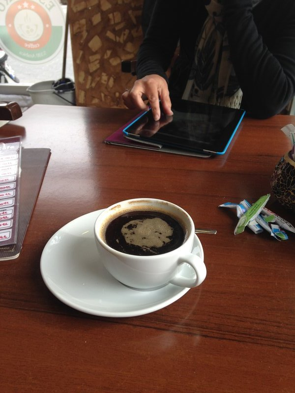 Coffee on arrival in Göreme after the night bus from Denizli