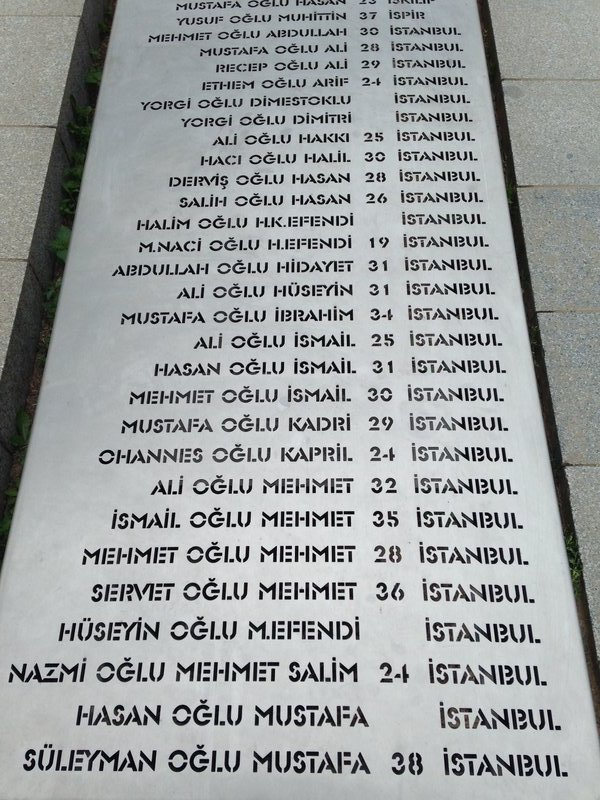 A list of Turkish soldiers at a mass burial site near Quinn's Post