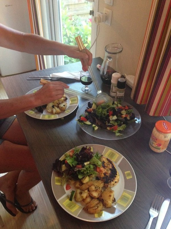 Dinner in our wee cabin a Parc et Plage