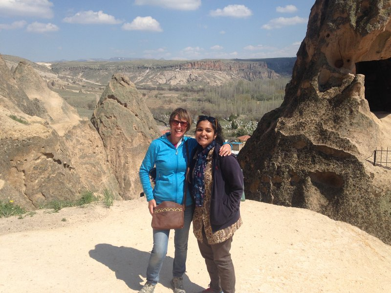 Lynelle with Megha at the Selime Monastery