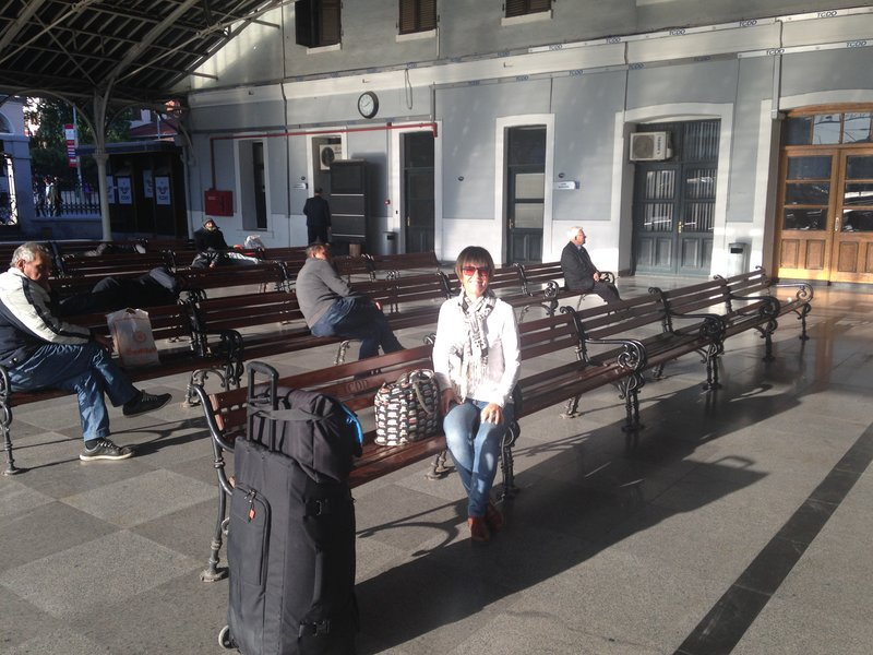 At Izmir railway station waiting for our train to Pamukkale