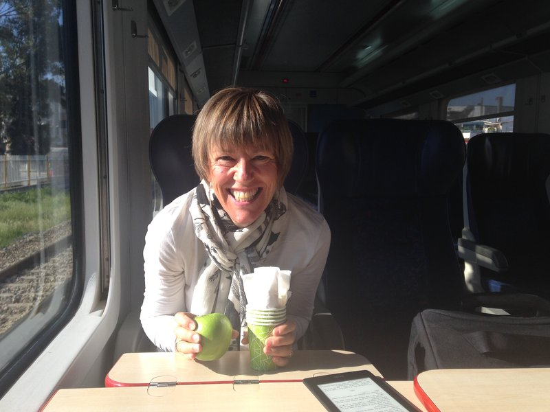 On the train to Pamukkale (Denizli) - Lynelle is excited about her packed lunch!