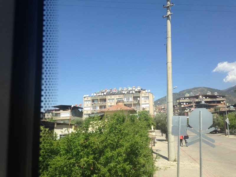 On the train to Pamukkale (Denizli) - so many solar water heating units and satellite dishes!