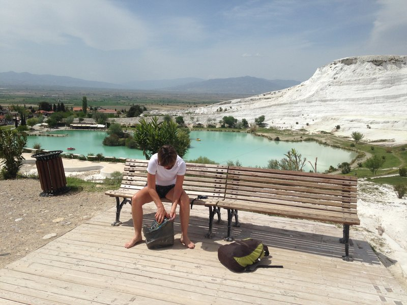 The white terraces of Pamukkale - you had to remove your shoes to walk on the terraces