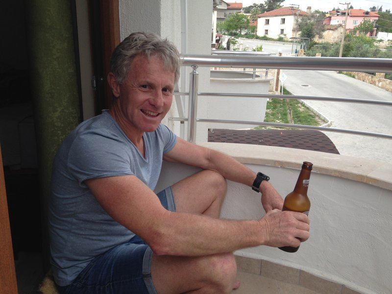 A beer on the balcony at our hotel