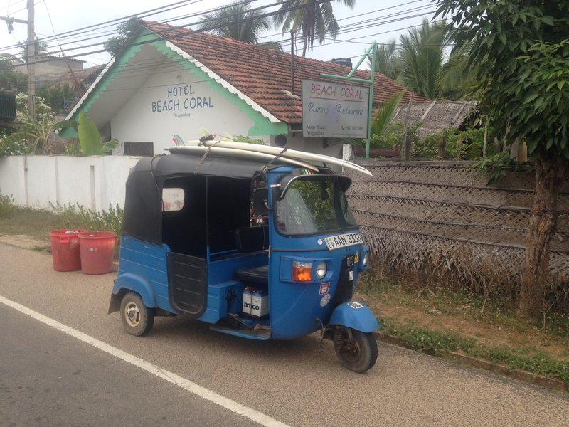 Tuk Tuk with surfboards on top. A typical sight in Arugam Bay