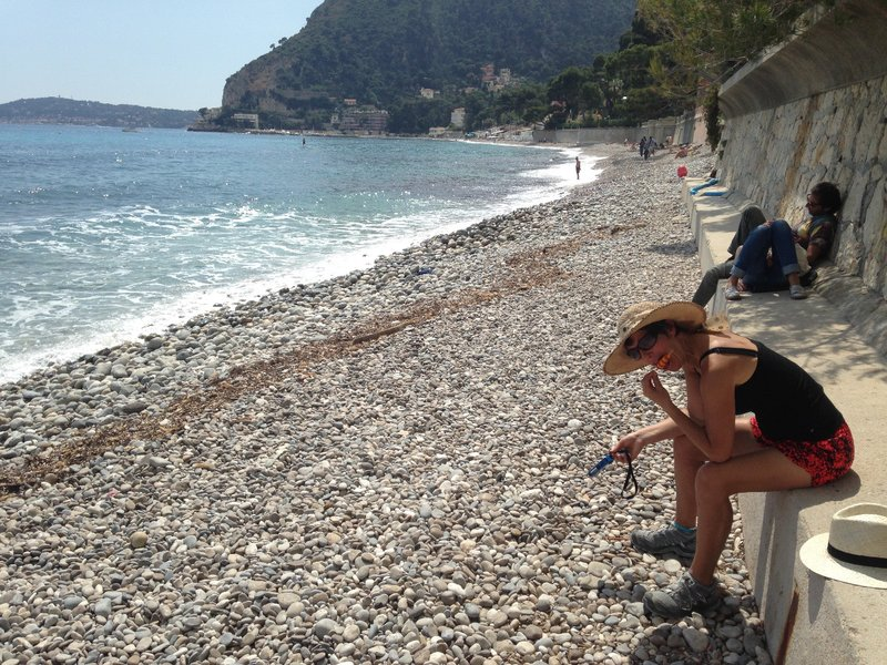 An ice block on the beach at Èze