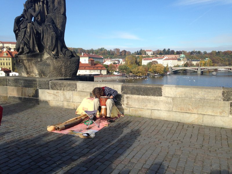 On The Charles Bridge an historic bridge that crosses the Vltava river - This guy also played a Didgeridoo