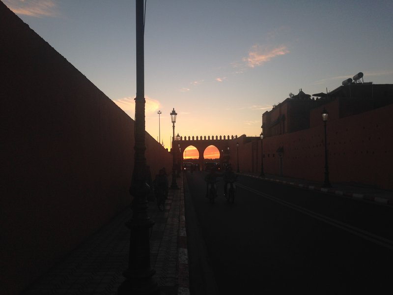 Evening within the walls of Marrakech