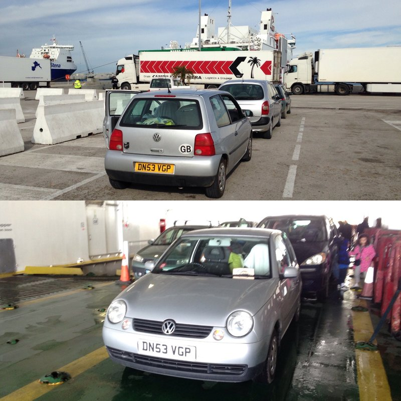 Getting on the ferry from Tangier Med