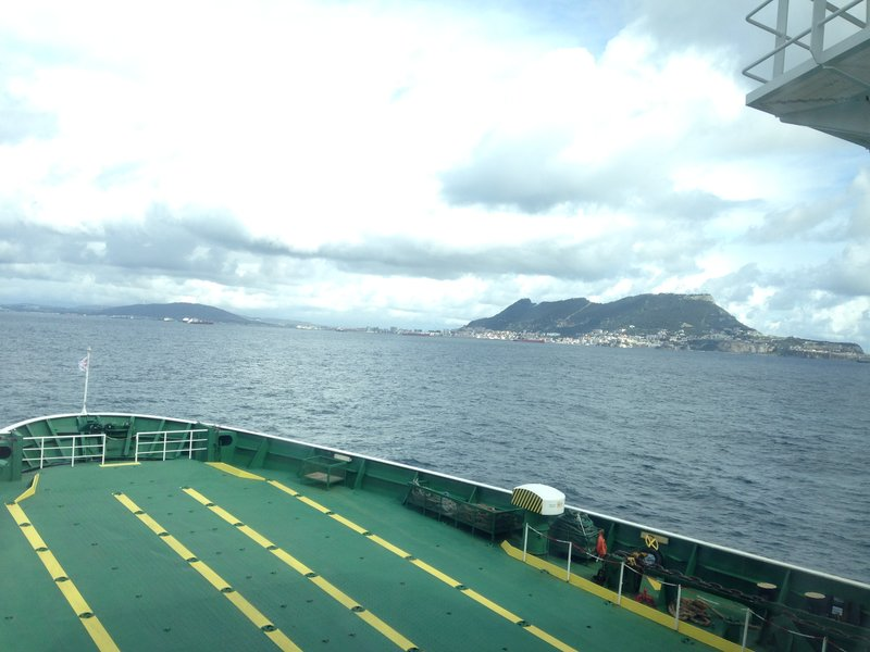 The Rock of Gibraltar as we get closer to Algeciras on the ferry