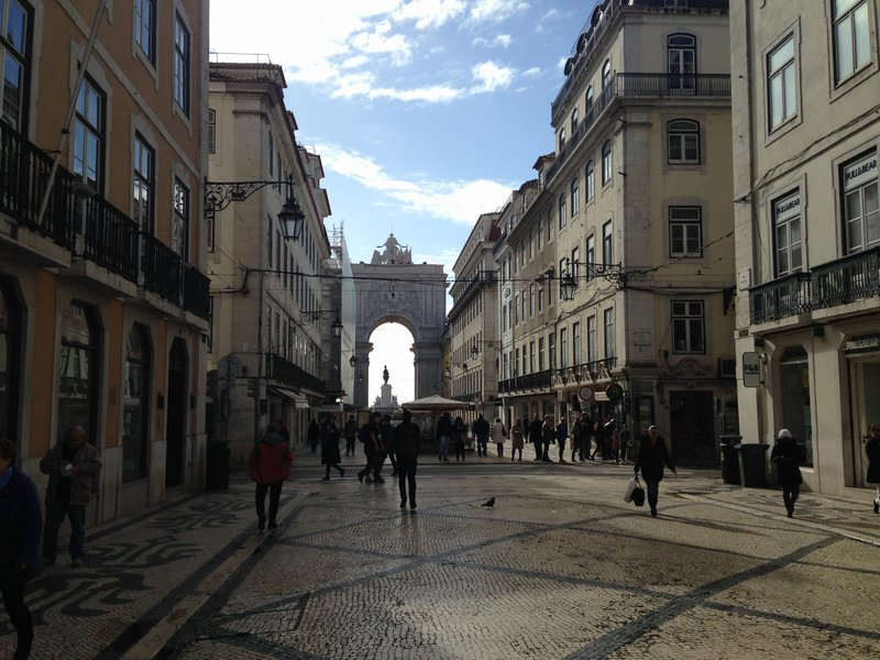 Looking down the Rua Augusta in the Baixa Pombalina district of Lisbon - This area was destroyed in the 1755 earthquake and rebuilt in a grid pattern
