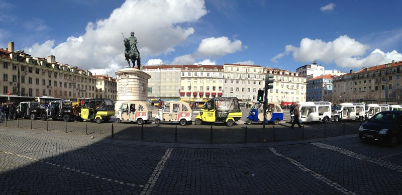 Praça D. Pedro IV - with a great lineup of tuk tuks