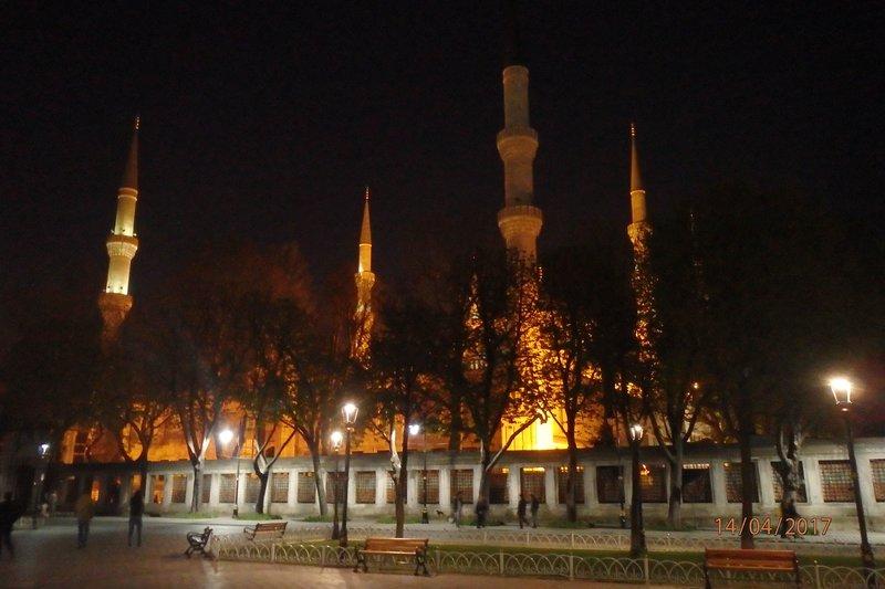 The Blue Mosque under lights