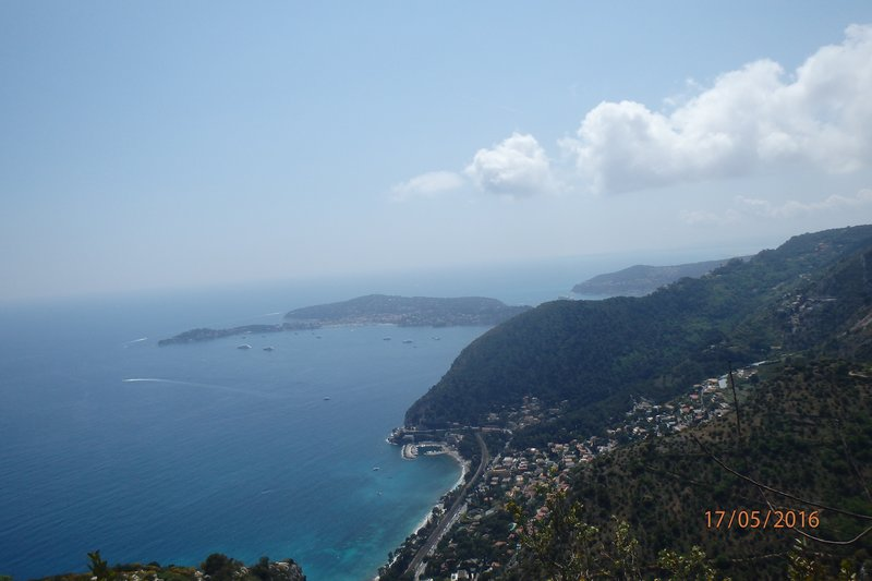 View looking down on the Mediterranean coast from Èze