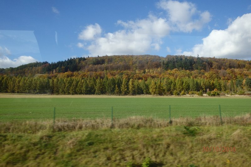 The countryside on the bus to Prague