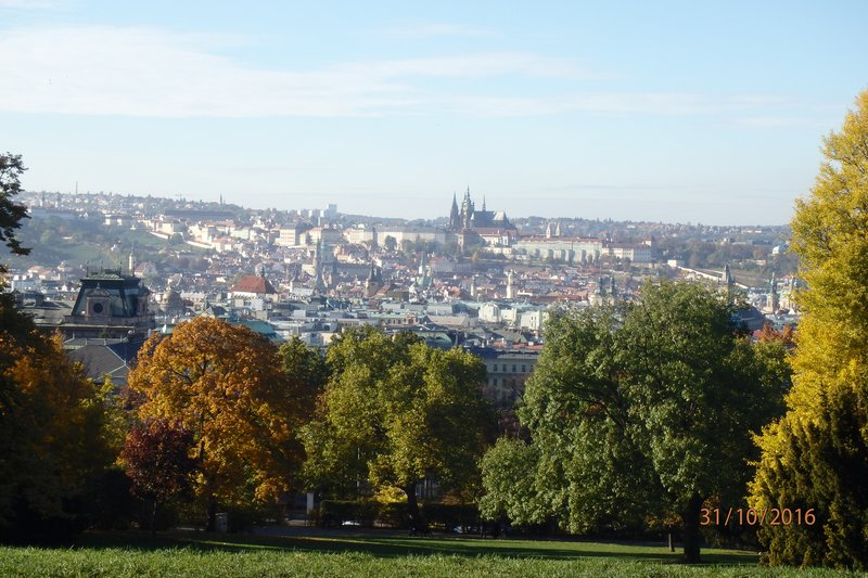View of Prague Castle from our seat at the park during the day