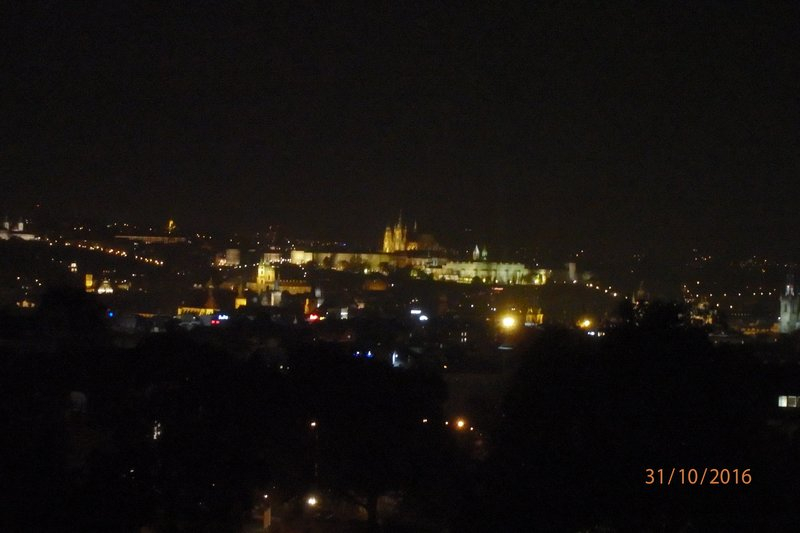 View of Prague Castle from our seat at the park in the evening