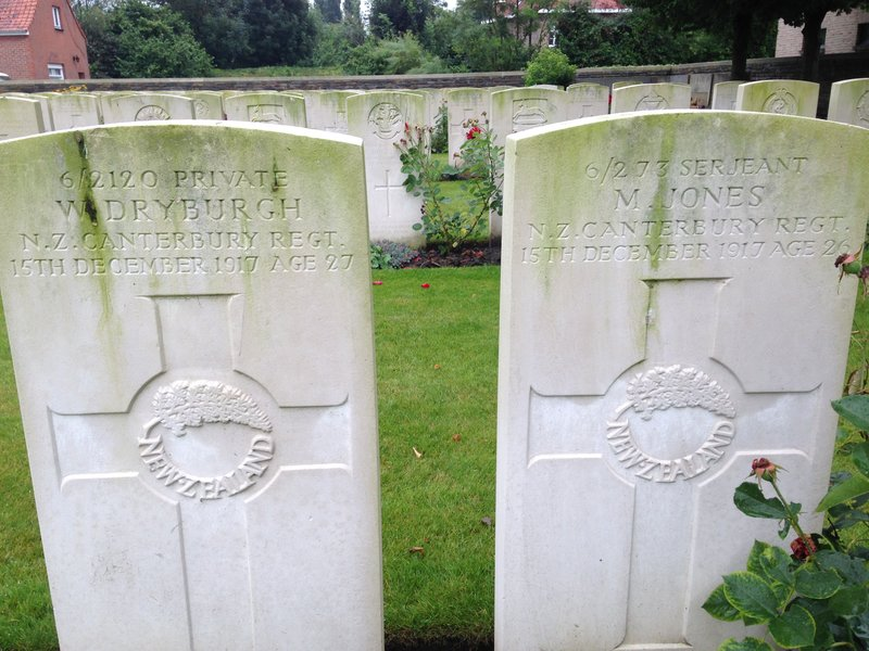 Headstones of two New Zealand soldiers in Ypres