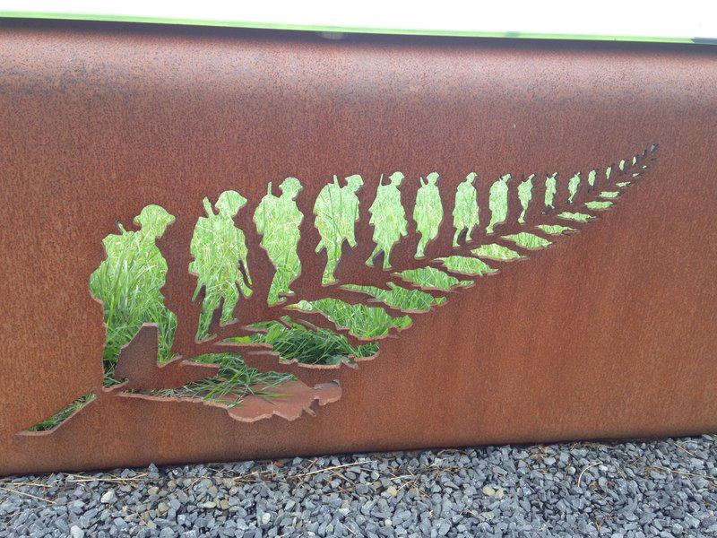 A steel Siliver Fern plaque at the battlefields at Passchendaele
