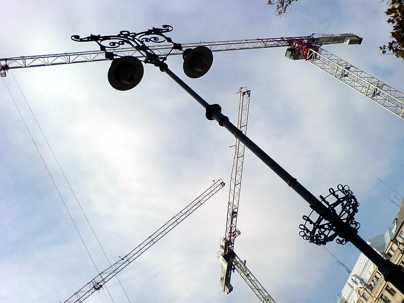 Cranes and lamp