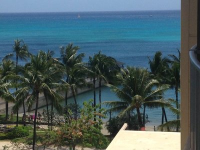 The view from our room at the Aston Waikiki Beach