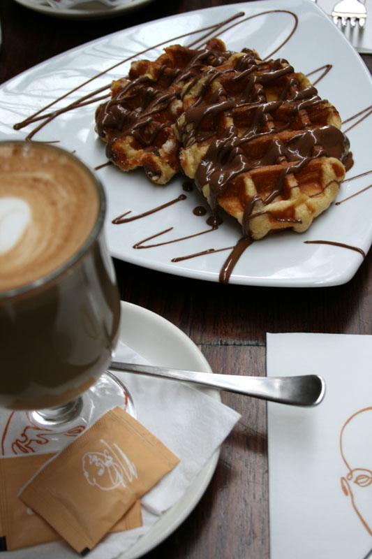 Belgian waffles and latte 2