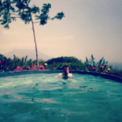 Matt in the infinity pool on Ometepe (Concepcion in the background)