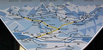 Jungfraujoch – Top of Europe - Map