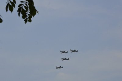 P51 Mustangs.  You had no problem hearing them flyover!