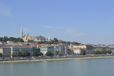 view of Buda while crossing the Chain Bridge over the river Danube