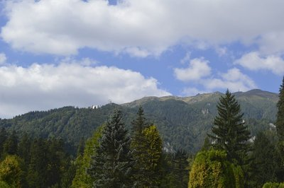 view of mountains outside Peles Castle