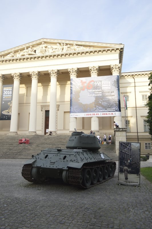 Hungarian National Museum with a WW II tank outside