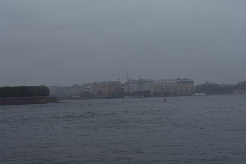 Ship anchored across the river