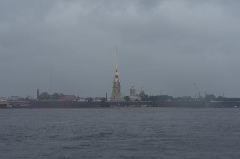 Peter and Paul Fortress across the Neva river thru the rain